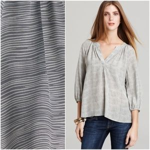 JOIE Addie B Silk Striped Print Blouse Top Gray S